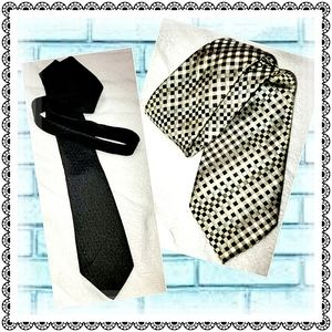 2 ties - 1 black textured & 1 gold/blue checkered